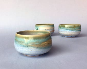 Green and Light Blue Stoneware Tea Cups / ice cream bowls