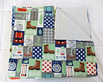 Camping Fleece Blanket  - Outdoors Fleece Blanket