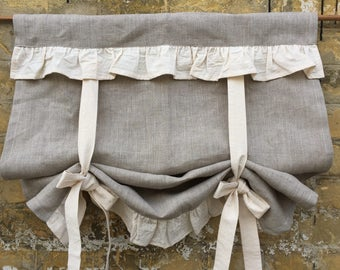 Linen Curtains Rufled Country Kitchen Tie Up Valance Rustic Grey Linen  Window Treatment French Country Farmhouse
