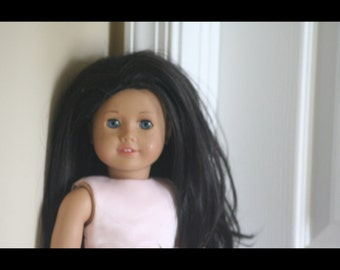 Custom made American Girl Doll, Blue eyes, freckles and black hair.