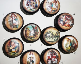 ALICE IN WONDERLAND vintage collection! 40mm Black Hand Painted Wood Door Drawer Knobs Gift Idea!