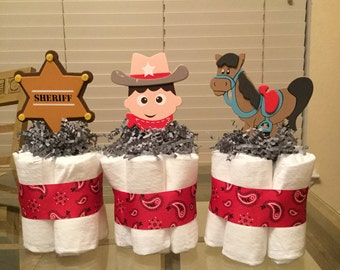 There's a new sheriff in town mini diaper cakes