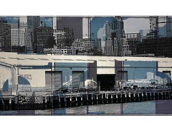 New York, Brooklyn, Brooklyn Heights, Dumbo, pier, collage, print, photography, Subway, Manhattan, Brooklyn, docks, Docklands, Blackwhite