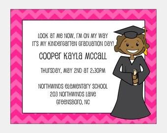 African American Graduation Announcement -Girl | Kindergarten Graduation Announcement | Preschool Graduation | First Grade Graduation