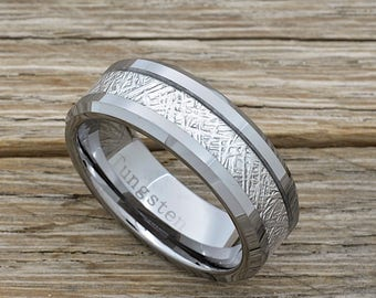 Men's Tungsten Meteorite Wedding Band, 8mm Comfort Fit Beveled Edge Ring