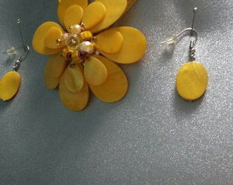 Flower shell? Mop? Necklace with matching earrings