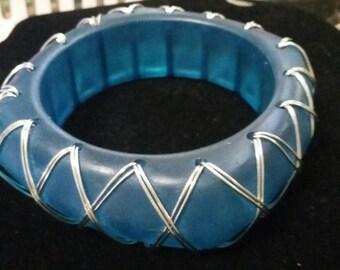 Translucent blue wired bangle bracelet