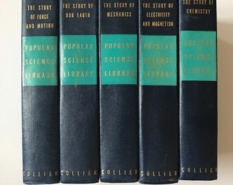 Vintage Blue Books Set of 5 Popular Science Library