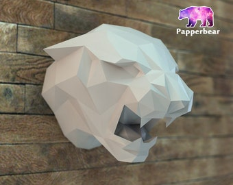 Low poly Leopard panther porpoising  trophy model printable DIY pdf papercraft template, Paper sculpture