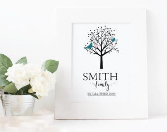 Customizable FAMILY TREE - Digital Art Print - Birds, Silhouette, Family name, Established date, Instant Download, Front Door