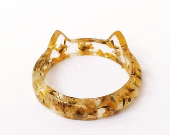 Ring cat 16 mm yellow flowery resin - colored dried flowers nature jewelry