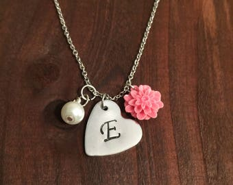 Heart Initial Necklace- Flower Necklace- Initial Heart Jewelry- Hand Stamped Heart Necklace- Women's Jewelry- Personalized Heart Necklace