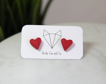 Red Heart Stud Earrings - Handmade Polymer Clay