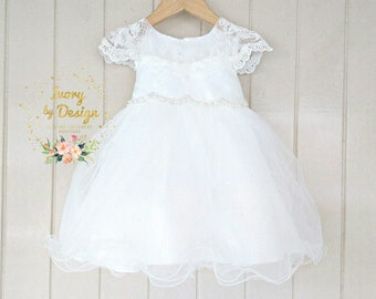 Ivory soft White Lace baby Girls Christening Dress  Baptism Dress Capp Sleeve Pearl bead Waist matching baby hat