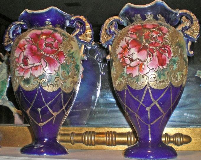ANTIQUE SATSUMA MORIAGE Museum Quality Cobalt Blue And Floral Nippon Antique Estate Vases