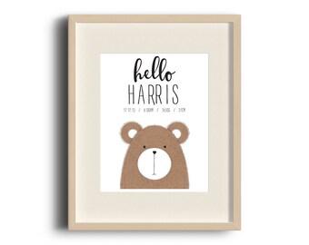 Hello Bear Personalised Birth Print