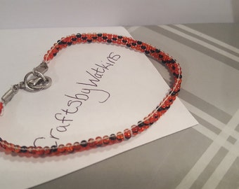 Red and black Seed bead loomed bracelet A28