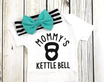 Mommy's Kettle Bell Baby Girl Bodysuit Outfit Teal Bow