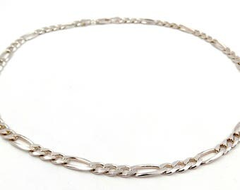 Silver 925 necklace chain ‰ 3 + 1 AC-mesh Choker chain by 3 + 1 925 silver man in alternating mesh