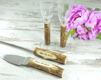 Toasting Glasses Flutes Rustic Cake Serving Set  Mountain Personalized Knife Set Champagne Glasses Rustic wedding Set