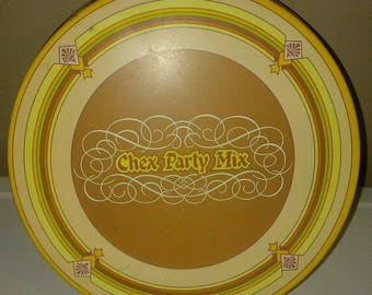 Chex Party Mix Advertising Tin Can 1984 Seasons Yellow Mustard Food VINTAGE