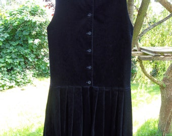 Vintage Laura Ashley Pinafore tunic dress dropped waist with pleated skirt Blue  80s Size S UK 10 USA 8