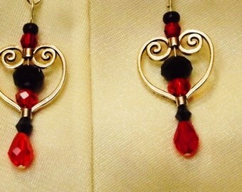 Fancy Red and Black Earrings