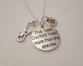 Veterinarian necklace, Veterinarian graduation, The best Doctors treat more than one species, Animal doctor, Vet tech jewelry, Vet tech gift