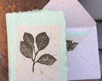 Beech Leaf TAN Handmade Greeting Card made from Block Printed Handmade Recycled Paper