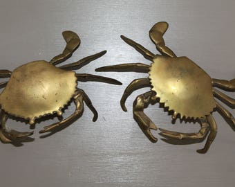 Vintage Brass Crab Ashtray/Trinket Holder Pair Of 2