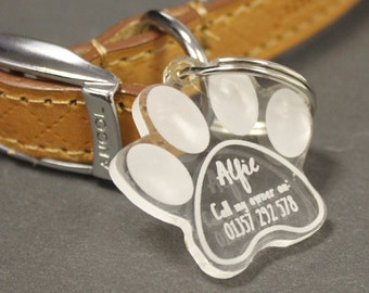 Personalised Paw Print Dog Tag   Clear