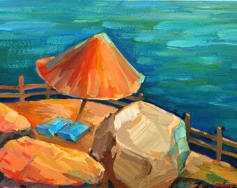 Aerial beach art Sea landscape gift Blue sea wall decor Blue sea original painting Colorful bright painting PaintingOnlineStore