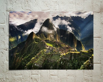 Machu Picchu in Peru , The Lost Ancient Inca City wallpaper decoration photo poster