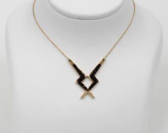 14k Gold Black Streak Necklace with black Sapphire