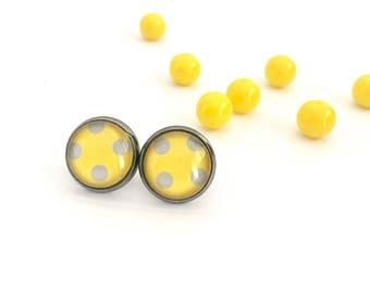 Yellow Polka Dot Glass Stud Earrings