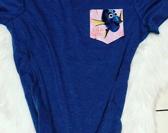 Pocket tshirt-Finding Dory Pocket Tee -kids clothing- Disney vacation shirts-Disney-women's clothing-pocke Tee-Disney- Minnie Mouse Tee