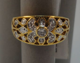 Beautiful Ring and Earring Set, Filigree 14kt Gold Plated with White Cubic Zirconia