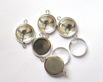 Cabochon Tray Setting with Glass Dome and 2 Links in Silver x 5 Sets