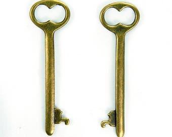 Antique Bronze Key Charm x 5