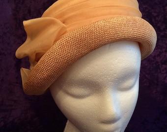 Bucket-style Hat - Pinkish-gold Straw