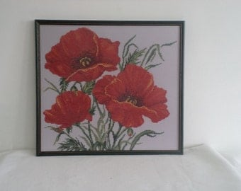 Hand Embroidery Decorative Panel Wall Framed- Poppies