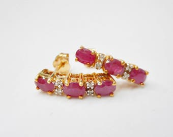 10k Yellow Gold Ruby & Diamond Earrings, Genuine 10k, Ruby Earrings, Oval, Rubies, Diamonds, Drop Earrings, Jewelry, Estate, #2483