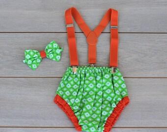 Green & Orange 3 Piece Cake Smash Outfit