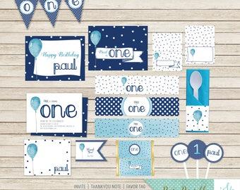 Birthday Invite, 1st Birthday Party, First Birthday Invitation, Boy's Birthday Party Pack, Printable Party Pack, One Birthday, Balloon
