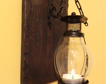 Antique,retro, Lighted wall decoration, Wood Sconce, Wall Decor, Rustic Home Decor, Hanging Sconce.