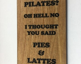 Wood Refrigerator Magnet- Pies and Lattes