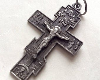 Russian Very beautiful sterling silver cross with a crucifix.
