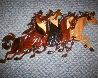 "Running Horses #1 wood intarsia wall art - 20"" x 9"""