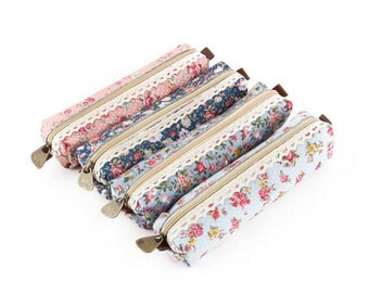 Floral Fabric Pencil Case Flowers Lace Stationery Zip Case