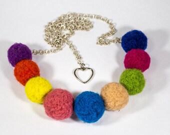 """Handmade bijouterie. Beads of wool """"Rainbow"""""""